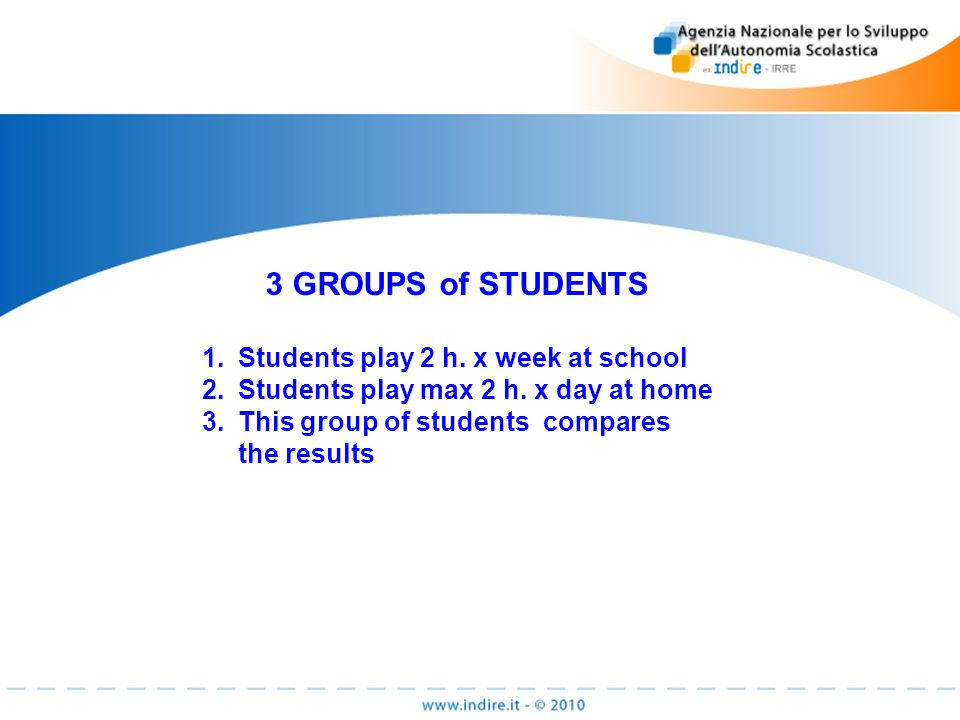 3 GROUPS of STUDENTS 1.Students play 2 h. x week at school 2.Students play max 2 h.