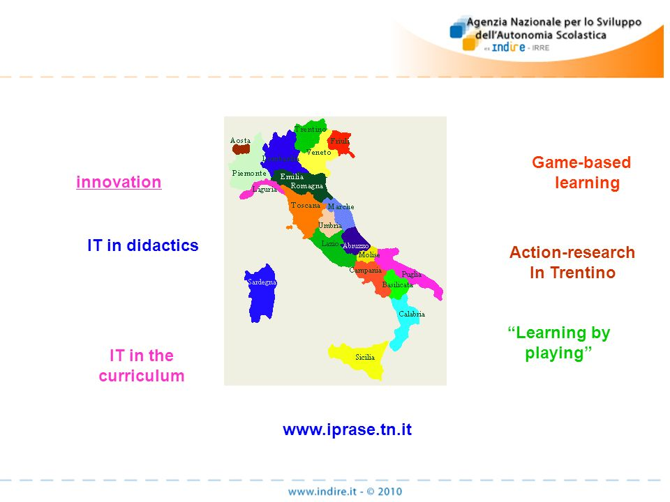 innovation Game-based learning IT in didactics IT in the curriculum Action-research In Trentino Learning by playing www.iprase.tn.it