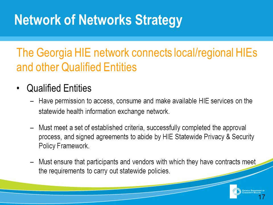 Network of Networks Strategy The Georgia HIE network connects local/regional HIEs and other Qualified Entities Qualified Entities –Have permission to