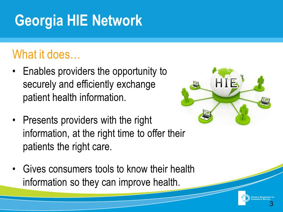 Georgia HIE Network What it does… Enables providers the opportunity to securely and efficiently exchange patient health information. Presents provider