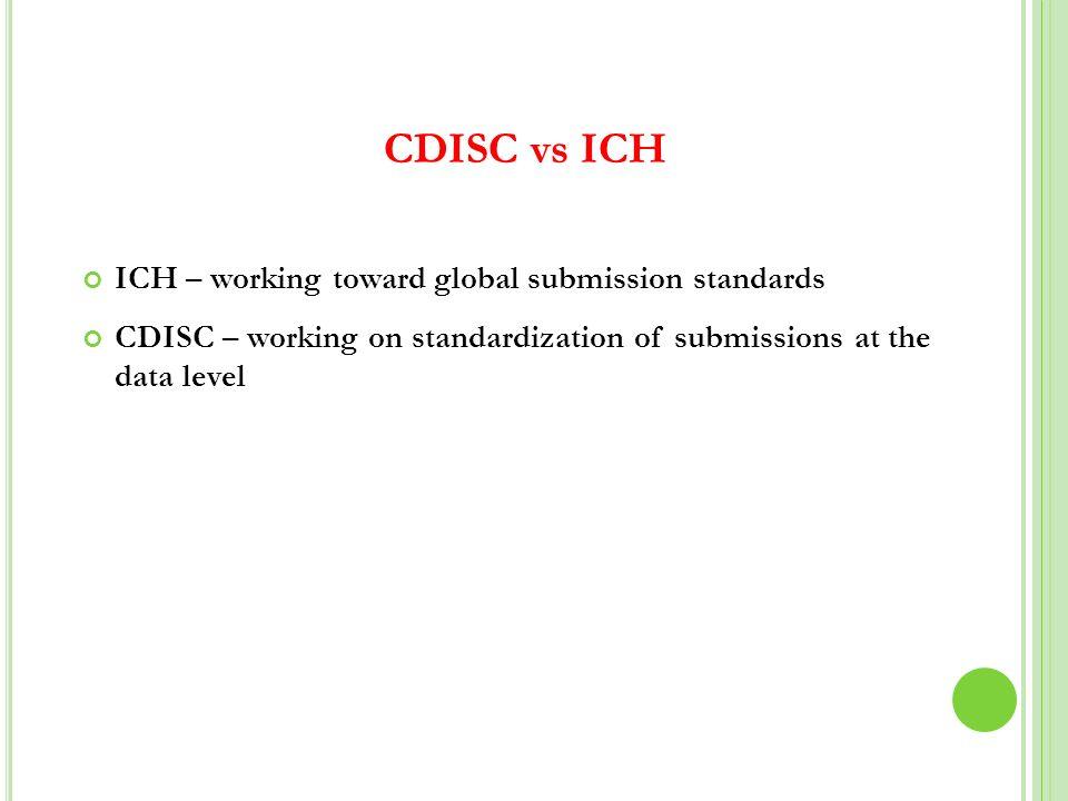 CDISC vs ICH ICH – working toward global submission standards ICH – working toward global submission standards CDISC – working on standardization of s