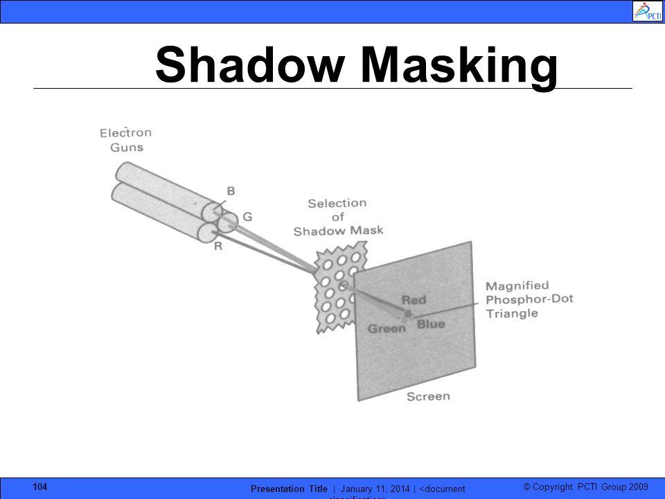 © Copyright PCTI Group 2009 Presentation Title | January 11, 2014 | 104 Shadow Masking
