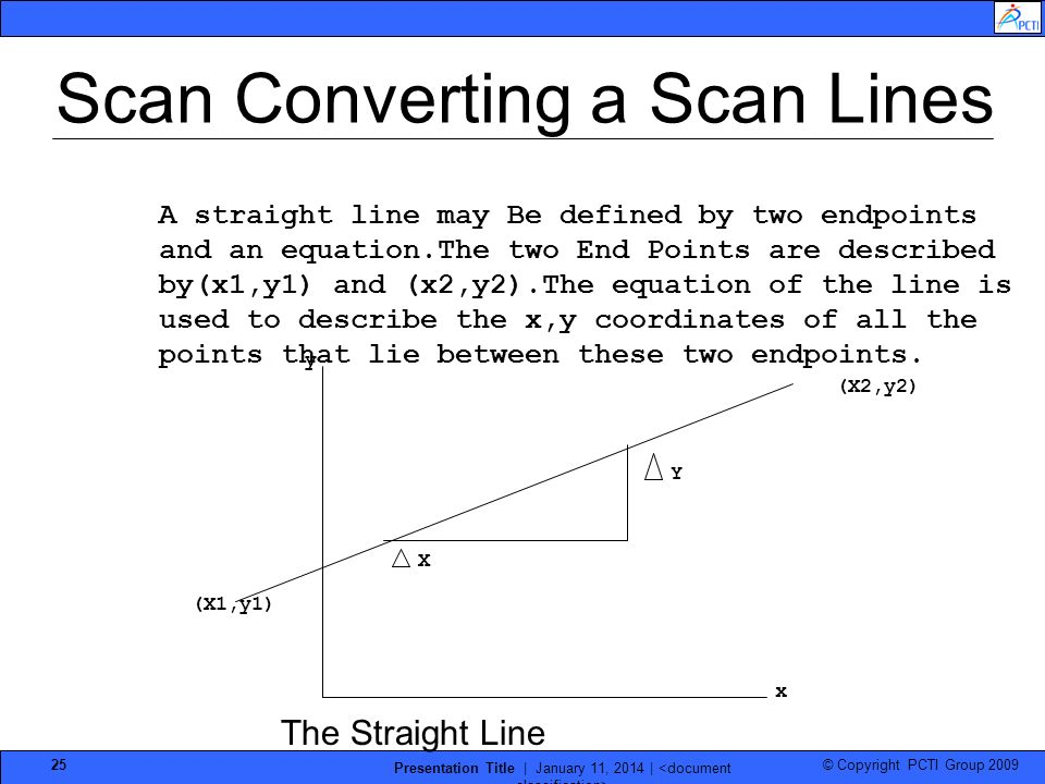 © Copyright PCTI Group 2009 Presentation Title | January 11, 2014 | 25 A straight line may Be defined by two endpoints and an equation.The two End Poi