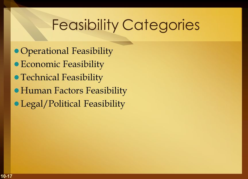 10-17 Feasibility Categories Operational Feasibility Economic Feasibility Technical Feasibility Human Factors Feasibility Legal/Political Feasibility