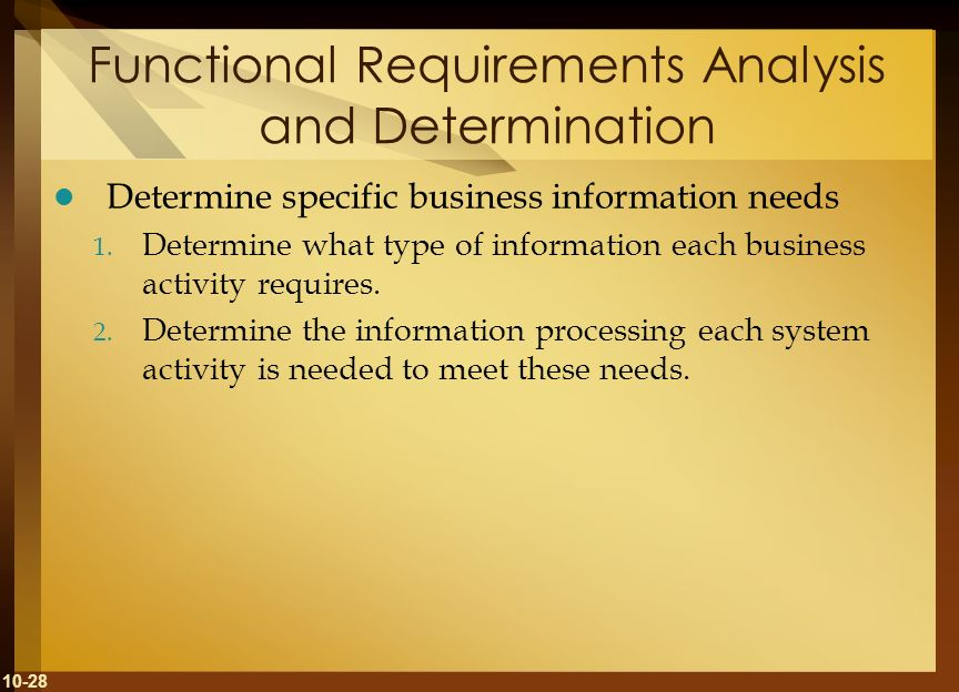 10-28 Functional Requirements Analysis and Determination Determine specific business information needs 1. Determine what type of information each busi