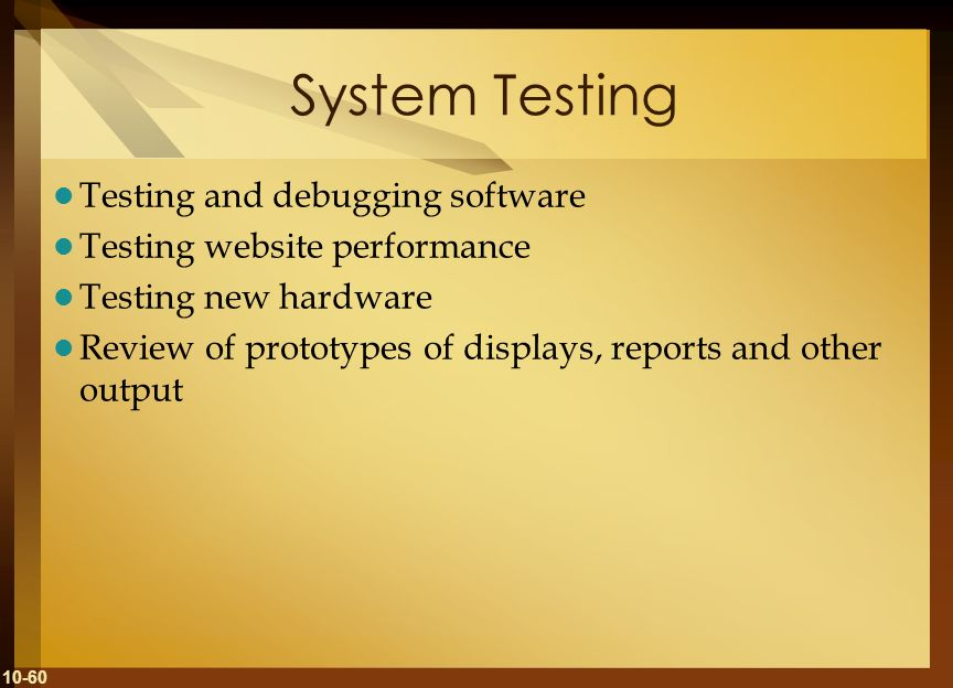 10-60 System Testing Testing and debugging software Testing website performance Testing new hardware Review of prototypes of displays, reports and oth