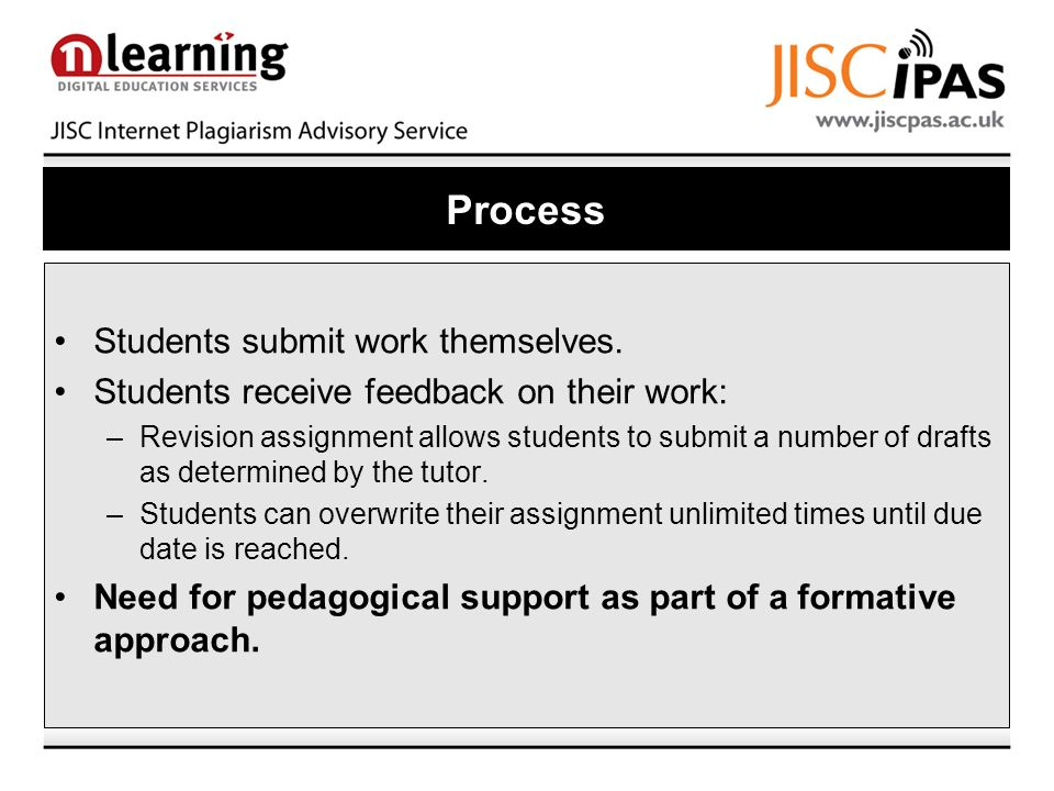 Process Students submit work themselves. Students receive feedback on their work: –Revision assignment allows students to submit a number of drafts as