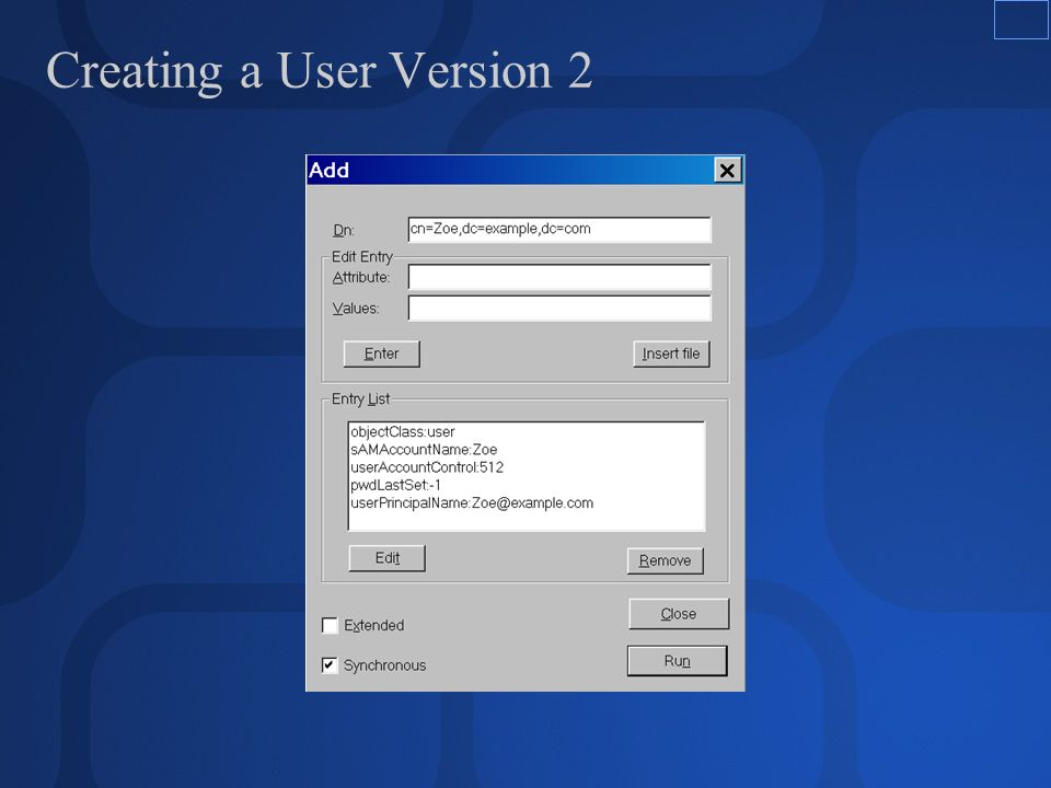 Creating a User Version 2