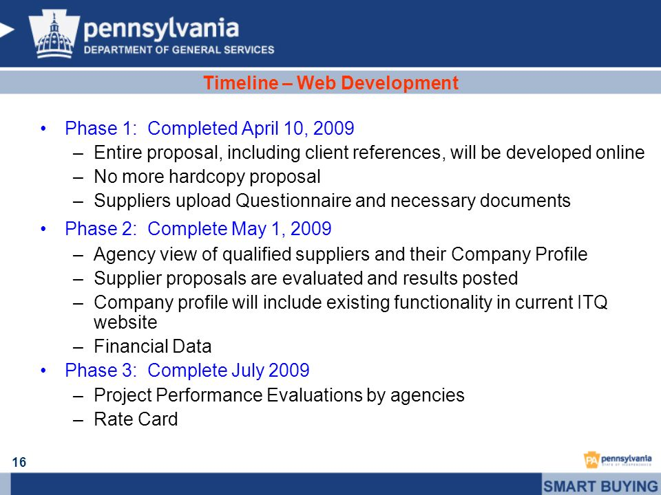 16 Timeline – Web Development Phase 1: Completed April 10, 2009 –Entire proposal, including client references, will be developed online –No more hardc