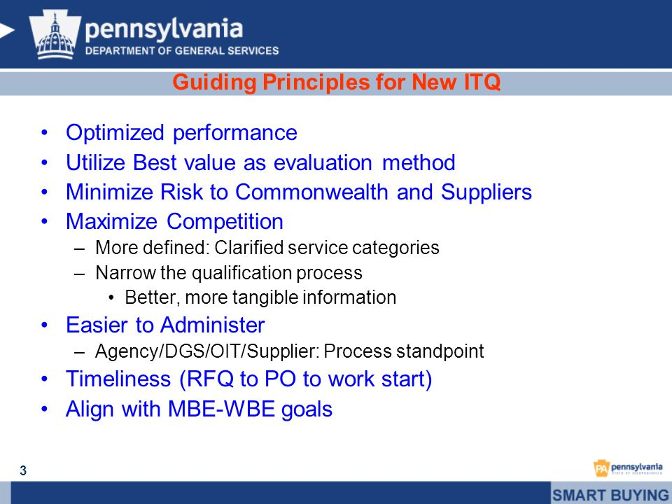 3 Guiding Principles for New ITQ Optimized performance Utilize Best value as evaluation method Minimize Risk to Commonwealth and Suppliers Maximize Co