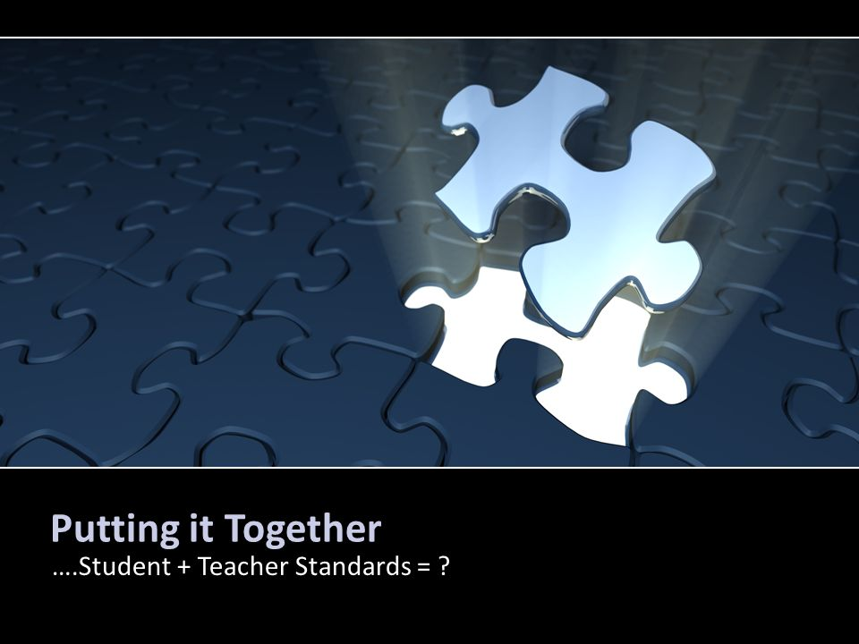 Putting it Together ….Student + Teacher Standards =