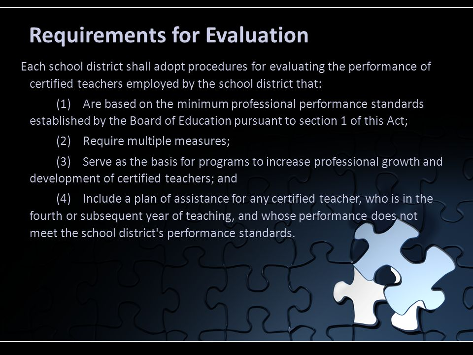 Requirements for Evaluation Each school district shall adopt procedures for evaluating the performance of certified teachers employed by the school di