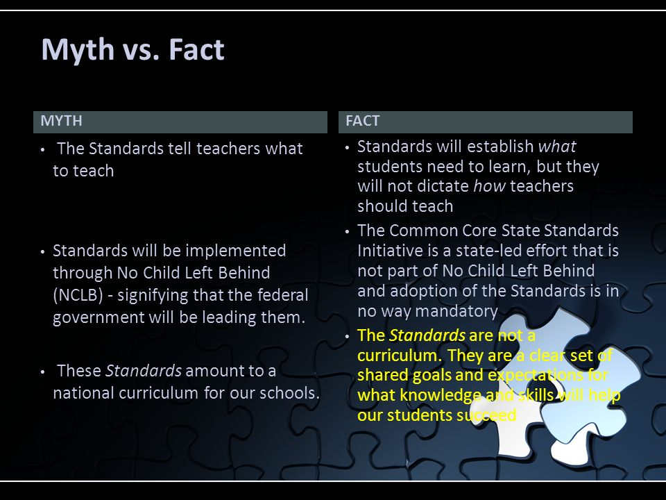 MYTH The Standards tell teachers what to teach Standards will be implemented through No Child Left Behind (NCLB) - signifying that the federal governm