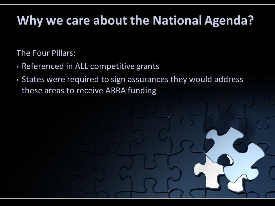 Why we care about the National Agenda? The Four Pillars: Referenced in ALL competitive grants States were required to sign assurances they would addre