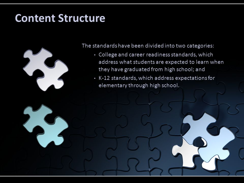 The standards have been divided into two categories: College and career readiness standards, which address what students are expected to learn when th