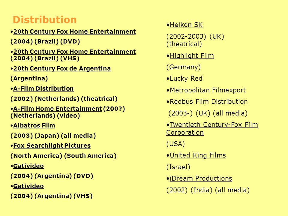 Distribution 20th Century Fox Home Entertainment (2004) (Brazil) (DVD) 20th Century Fox Home Entertainment (2004) (Brazil) (VHS) 20th Century Fox de Argentina (Argentina) A-Film Distribution (2002) (Netherlands) (theatrical) A-Film Home Entertainment (200?) (Netherlands) (video) Albatros Film (2003) (Japan) (all media) Fox Searchlight Pictures (North America) (South America) Gativideo (2004) (Argentina) (DVD) Gativideo (2004) (Argentina) (VHS) Helkon SK (2002-2003) (UK) (theatrical) Highlight Film (Germany) Lucky Red Metropolitan Filmexport Redbus Film Distribution (2003-) (UK) (all media) Twentieth Century-Fox Film Corporation (USA) United King Films (Israel) iDream Productions (2002) (India) (all media)