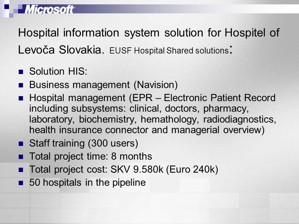 Hospital information system solution for Hospitel of Levoča Slovakia. EUSF Hospital Shared solutions : Solution HIS: Business management (Navision) Ho
