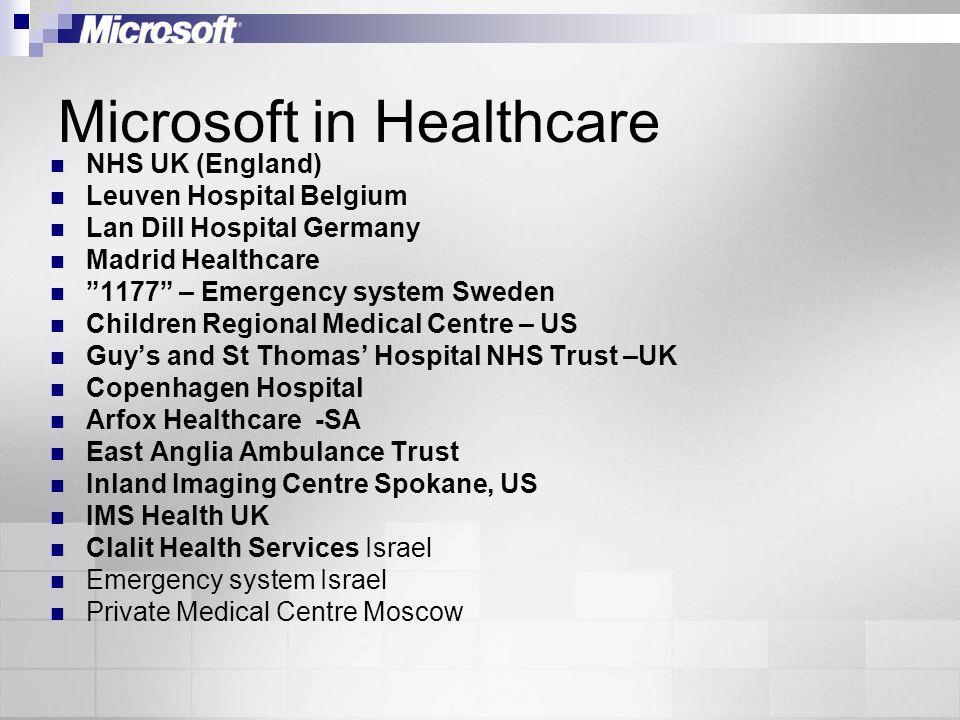 Microsoft in Healthcare NHS UK (England) Leuven Hospital Belgium Lan Dill Hospital Germany Madrid Healthcare 1177 – Emergency system Sweden Children R