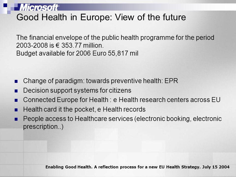 Good Health in Europe: View of the future The financial envelope of the public health programme for the period 2003-2008 is 353.77 million.