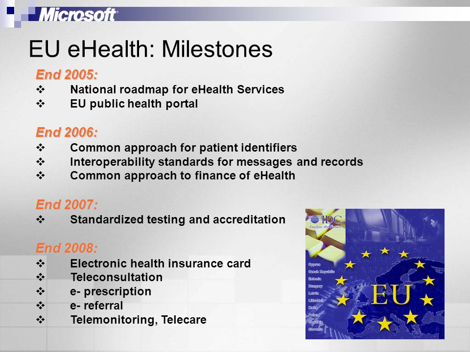 EU eHealth: Milestones End 2005: National roadmap for eHealth Services EU public health portal End 2006: Common approach for patient identifiers Interoperability standards for messages and records Common approach to finance of eHealth End 2007: Standardized testing and accreditation End 2008: Electronic health insurance card Teleconsultation e- prescription e- referral Telemonitoring, Telecare