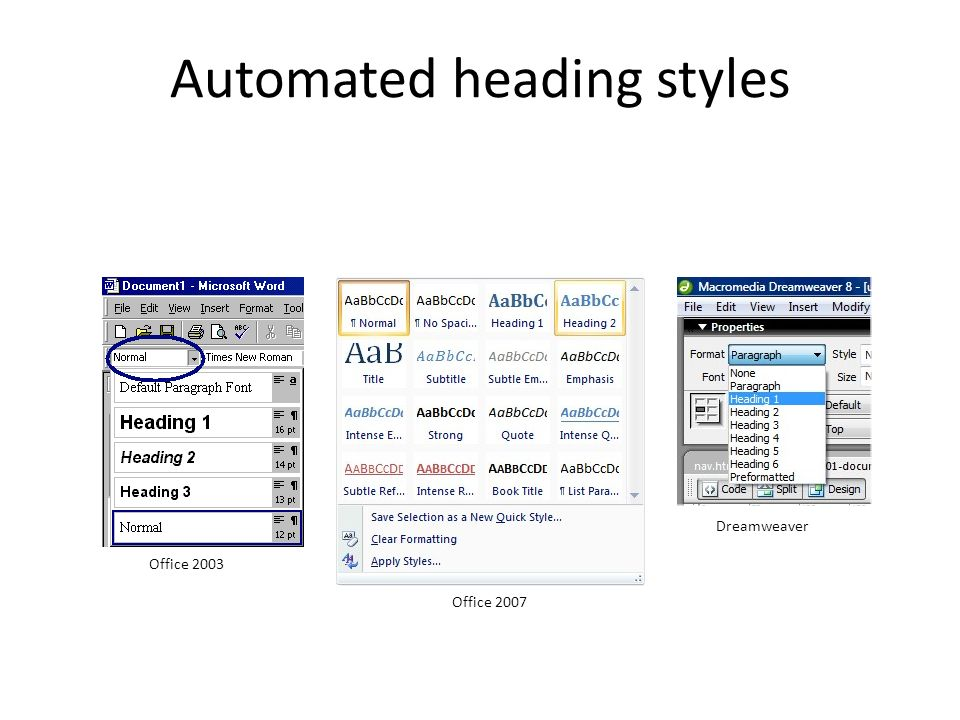 Automated heading styles Office 2003 Office 2007 Dreamweaver