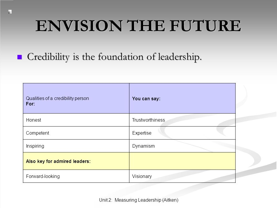 Unit 2: Measuring Leadership (Aitken) ENVISION THE FUTURE Credibility is the foundation of leadership. Credibility is the foundation of leadership. Qu