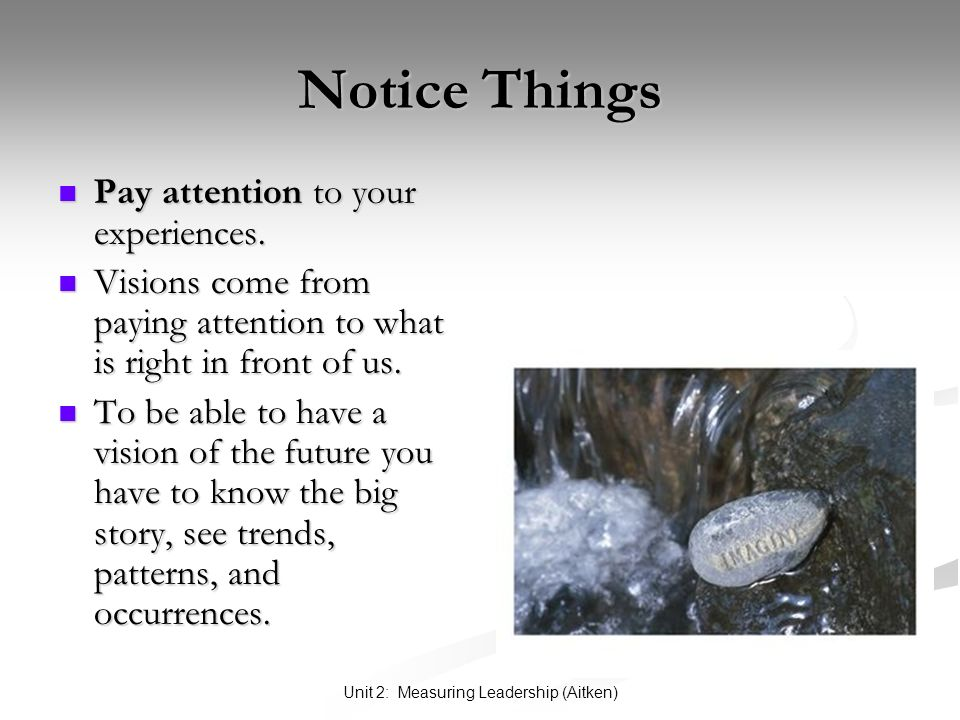 Unit 2: Measuring Leadership (Aitken) Notice Things Pay attention to your experiences.