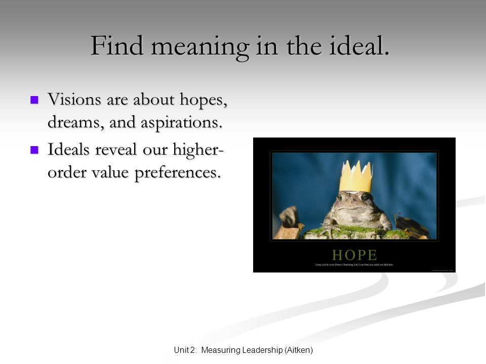 Unit 2: Measuring Leadership (Aitken) Find meaning in the ideal. Find meaning in the ideal. Visions are about hopes, dreams, and aspirations. Visions