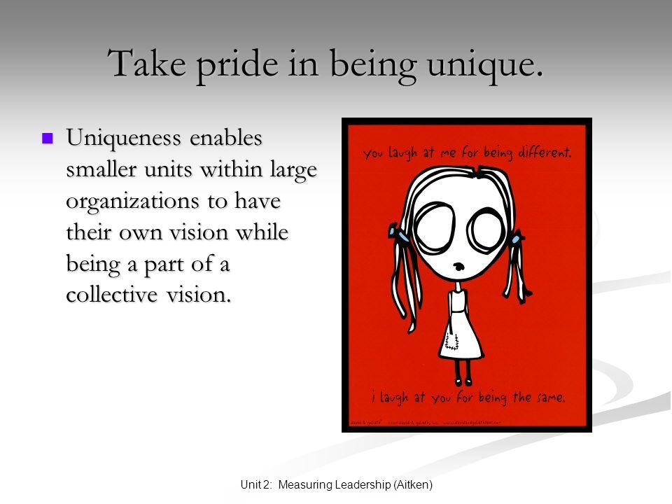 Unit 2: Measuring Leadership (Aitken) Take pride in being unique. Take pride in being unique. Uniqueness enables smaller units within large organizati