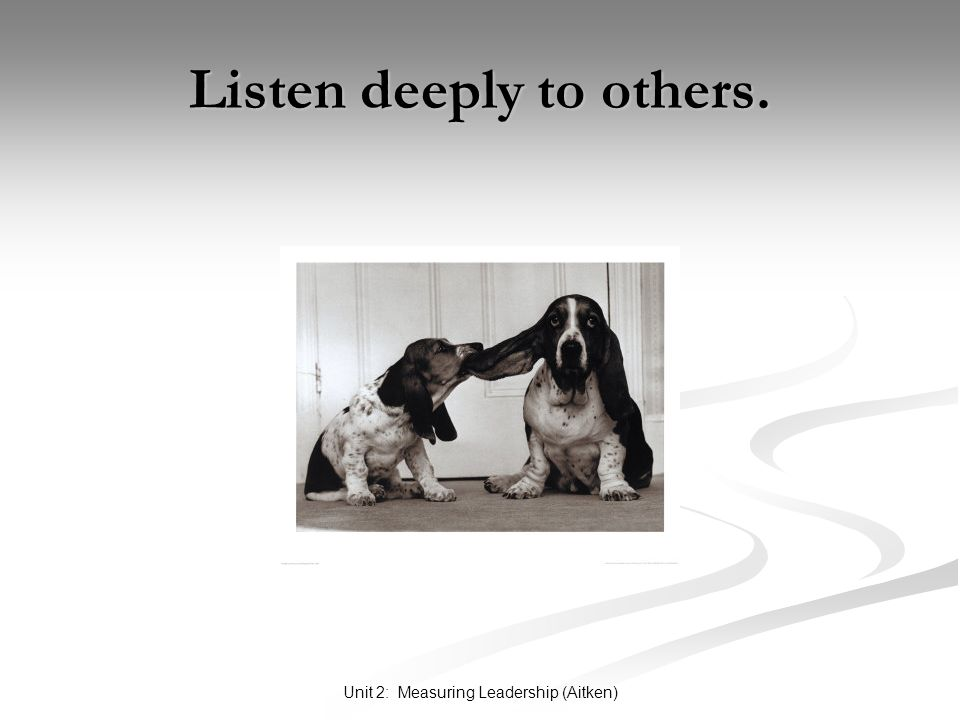 Unit 2: Measuring Leadership (Aitken) Listen deeply to others.