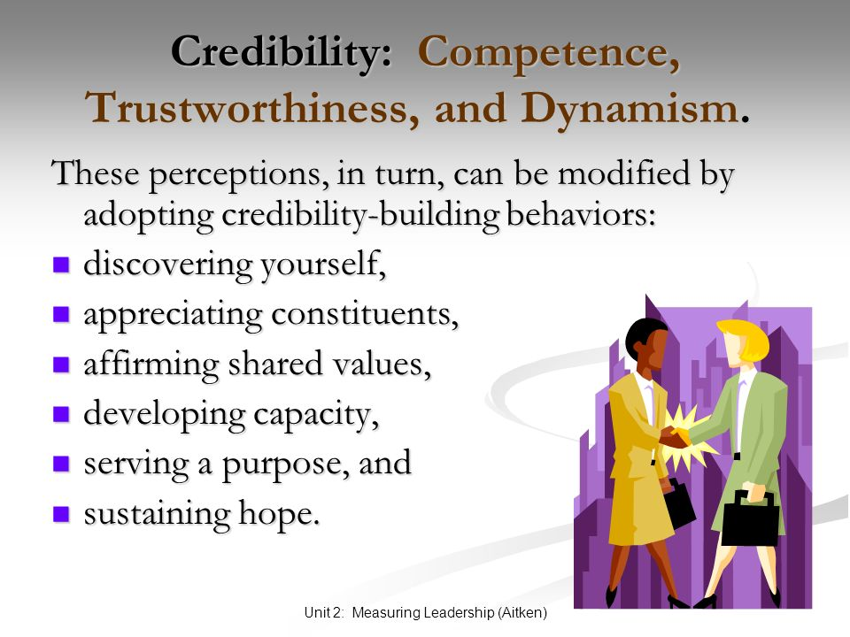 Unit 2: Measuring Leadership (Aitken) Credibility: Competence, Trustworthiness, and Dynamism.