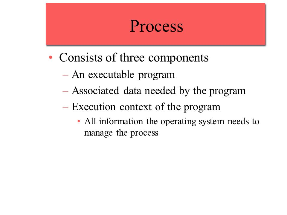 Process Consists of three components –An executable program –Associated data needed by the program –Execution context of the program All information the operating system needs to manage the process
