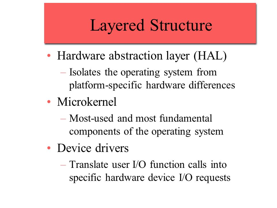 Layered Structure Hardware abstraction layer (HAL) –Isolates the operating system from platform-specific hardware differences Microkernel –Most-used and most fundamental components of the operating system Device drivers –Translate user I/O function calls into specific hardware device I/O requests