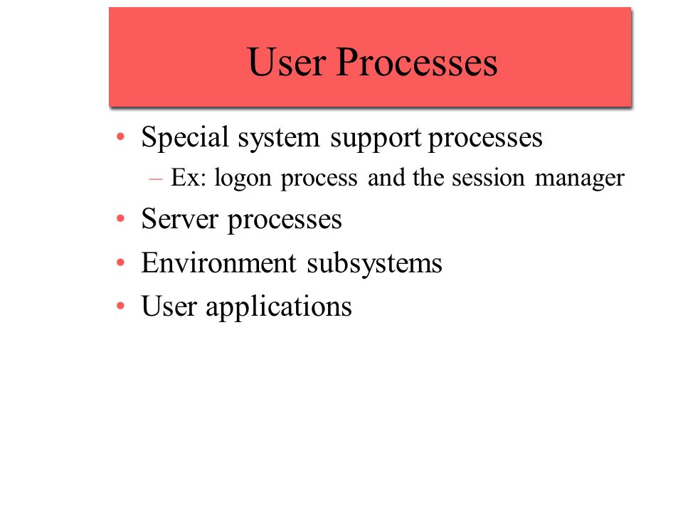 User Processes Special system support processes –Ex: logon process and the session manager Server processes Environment subsystems User applications