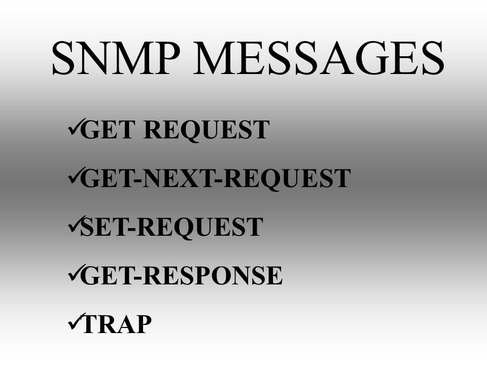 SNMP MESSAGES GET REQUEST GET-NEXT-REQUEST SET-REQUEST GET-RESPONSE TRAP