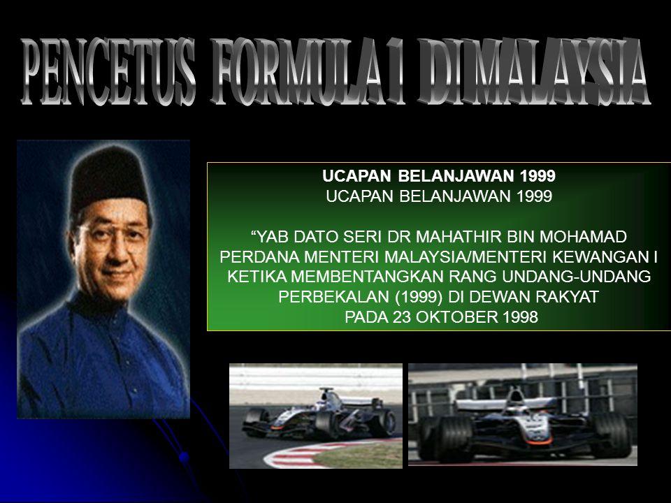 PERINTIS F1 MALAYSIA 1UCAPAN 2 KERETA& PEMANDU 3 PUSAT TEKNOLOGI 4 KAWALAN ANGIN 5 PEGAWAI KAWALAN 6 SAYAP HADAPAN 7 SISTEM STERING 8 LITAR F1 SEPANG