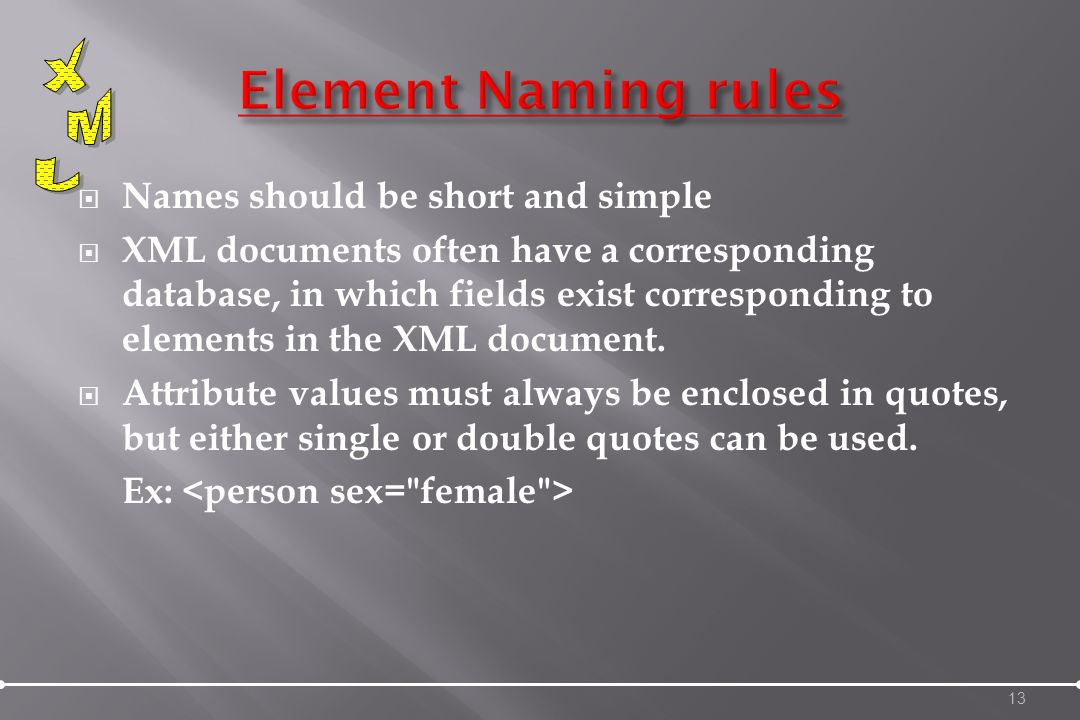 Names should be short and simple XML documents often have a corresponding database, in which fields exist corresponding to elements in the XML document.