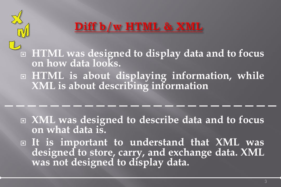 XML stands for EXtensible Markup Language XML is a markup language much like HTML XML was designed to describe data XML tags are not predefined.