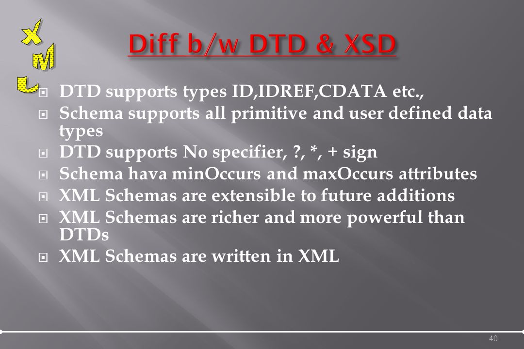 DTD supports types ID,IDREF,CDATA etc., Schema supports all primitive and user defined data types DTD supports No specifier, , *, + sign Schema hava minOccurs and maxOccurs attributes XML Schemas are extensible to future additions XML Schemas are richer and more powerful than DTDs XML Schemas are written in XML 40