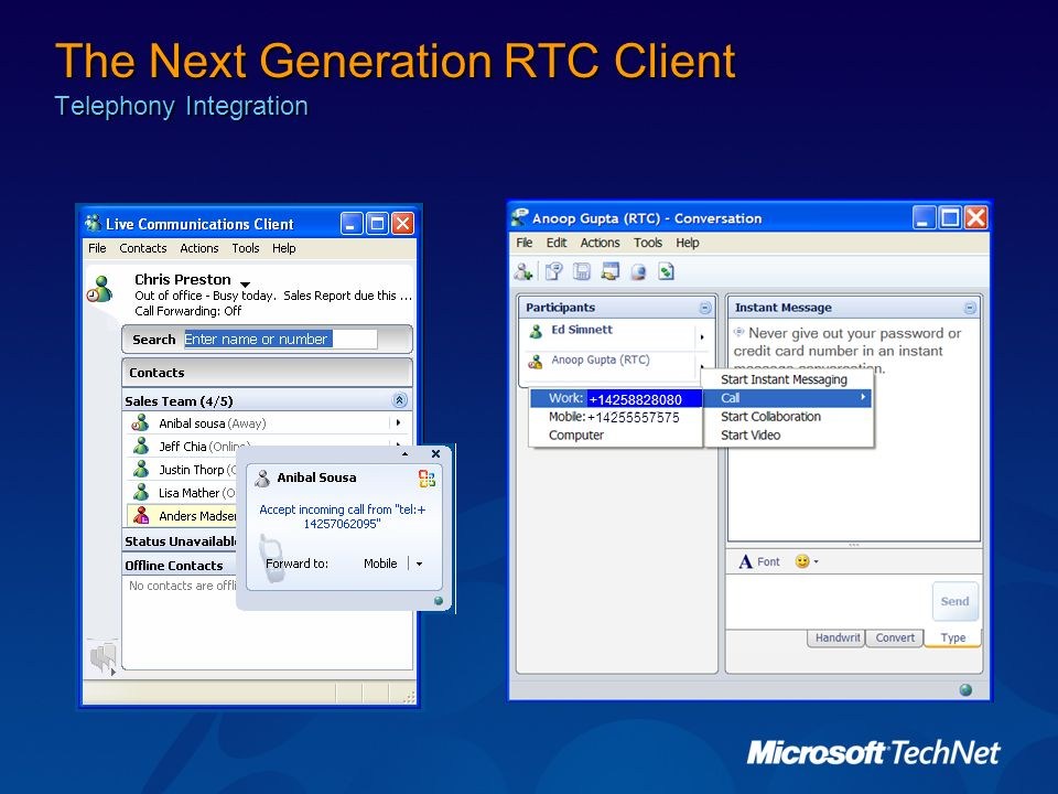 The Next Generation RTC Client Telephony Integration +14255557575 +14258828080
