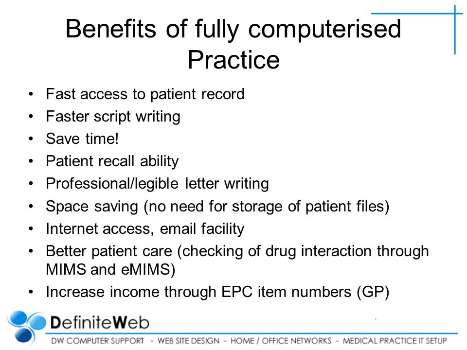 Benefits of fully computerised Practice Fast access to patient record Faster script writing Save time.