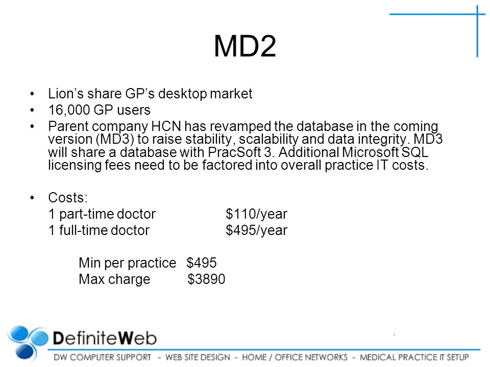 MD2 Lions share GPs desktop market 16,000 GP users Parent company HCN has revamped the database in the coming version (MD3) to raise stability, scalability and data integrity.