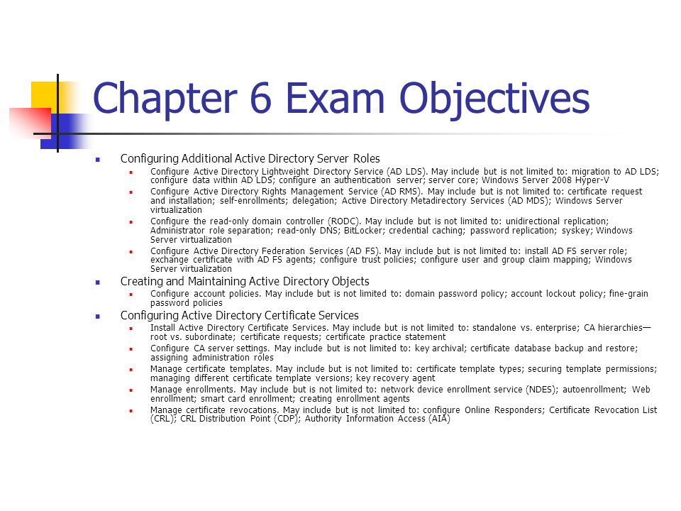 Chapter 6 Exam Essentials Understand the concepts behind certificate authority.