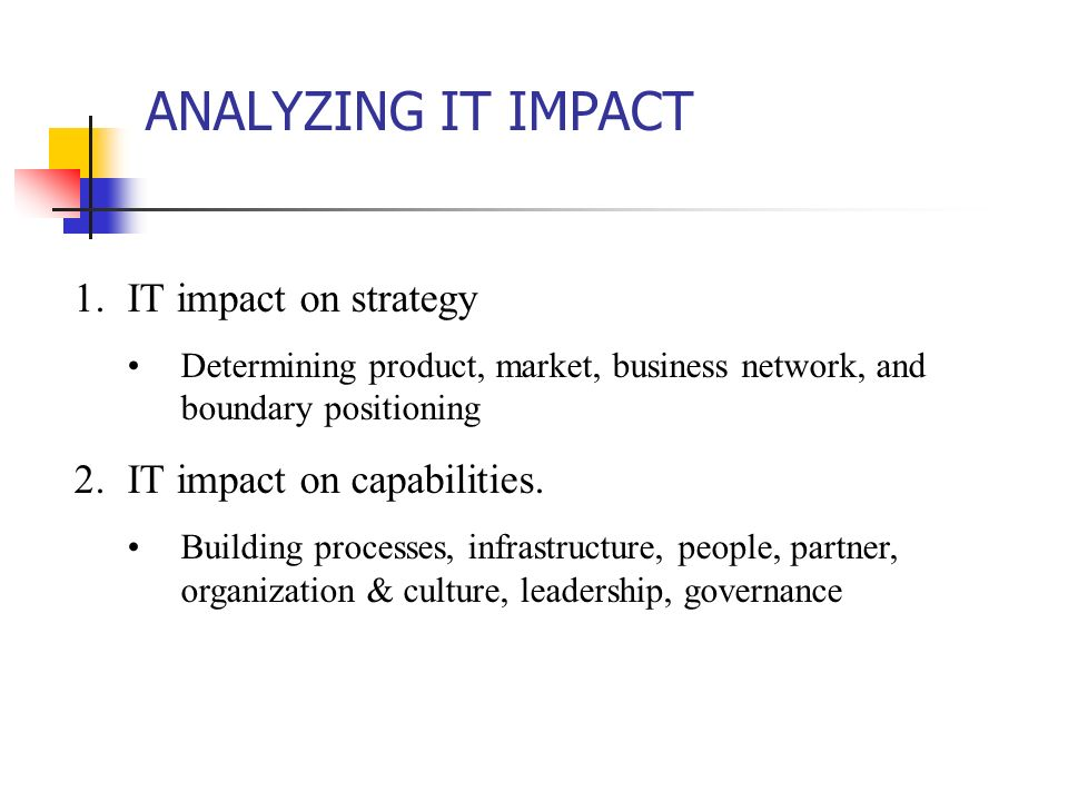 ANALYZING IT IMPACT 1.IT impact on strategy Determining product, market, business network, and boundary positioning 2.IT impact on capabilities. Build