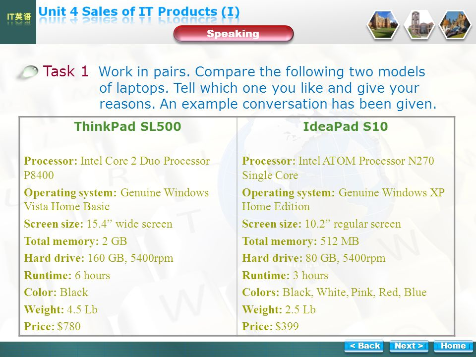 Speaking Task 1 Work in pairs. Compare the following two models of laptops.