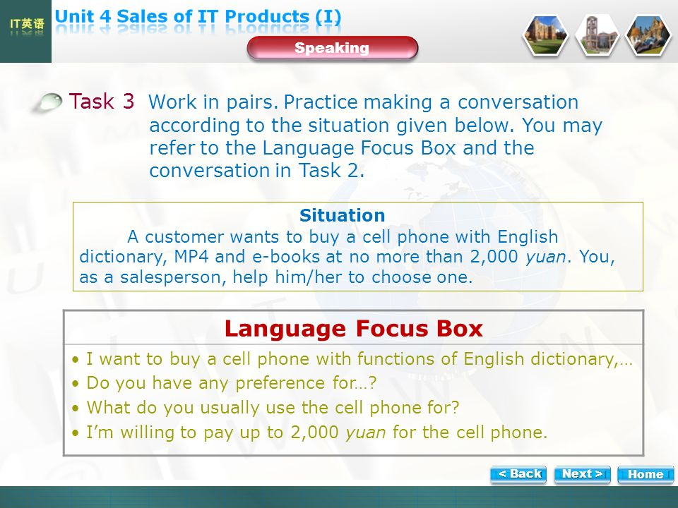 Task 3 Work in pairs. Practice making a conversation according to the situation given below.