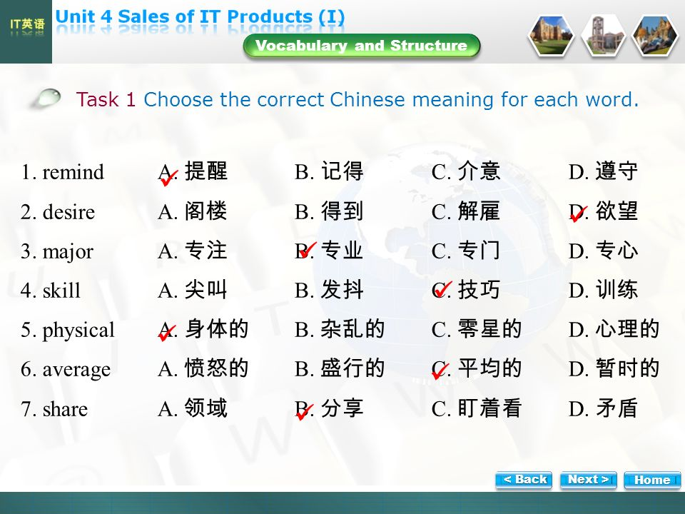 Vocabulary and Structure Task 1 Choose the correct Chinese meaning for each word.