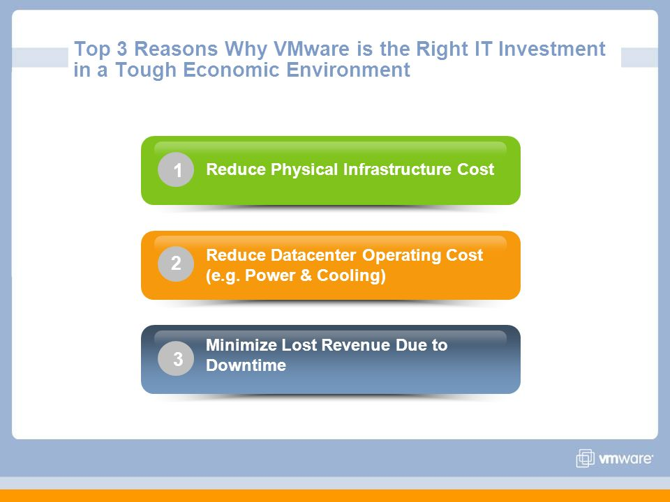 Top 3 Reasons Why VMware is the Right IT Investment in a Tough Economic Environment Minimize Lost Revenue Due to Downtime 3 Reduce Datacenter Operatin