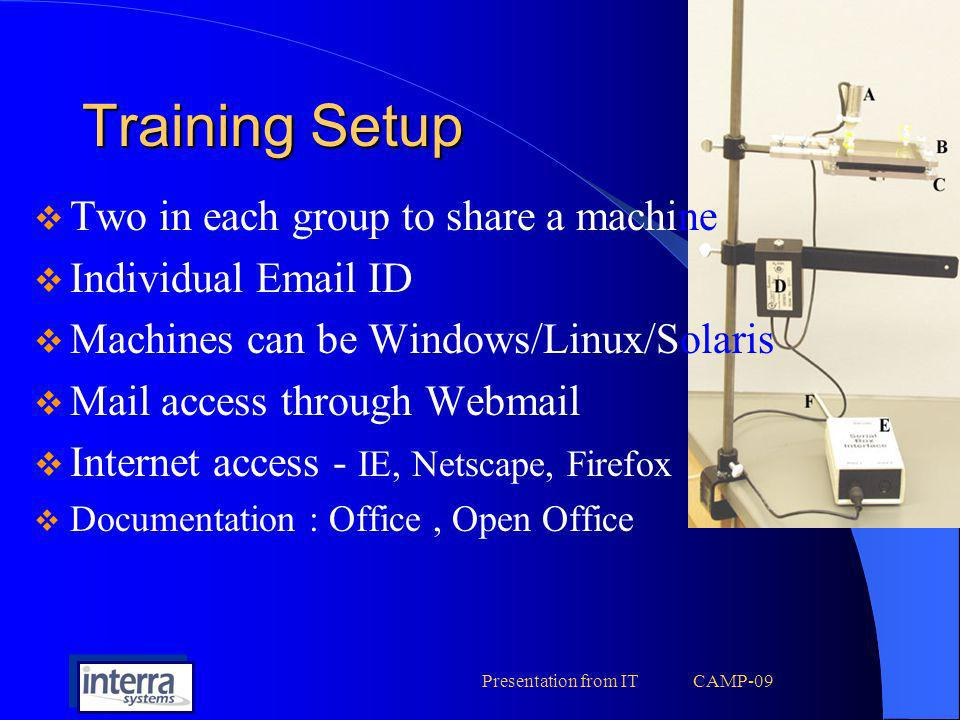 Presentation from IT CAMP-09 Training Setup Two in each group to share a machine Individual Email ID Machines can be Windows/Linux/Solaris Mail access