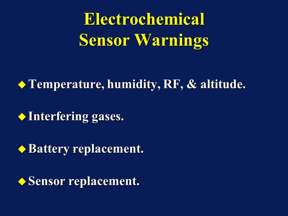 Electrochemical Sensor Warnings Temperature, humidity, RF, & altitude. Temperature, humidity, RF, & altitude. Interfering gases. Interfering gases. Ba